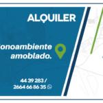 Alquiler monoambiente amoblado. Ciudad de San Luis