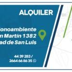 Alquiler monoambiente San Luis