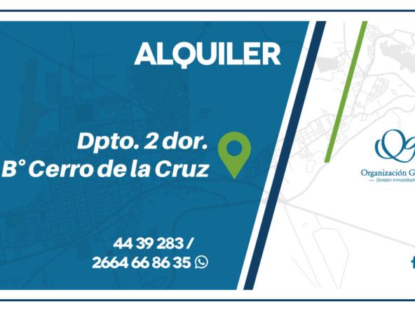 ALQUILER. Departamento 2 dormitorios. Bº Cerro de la Cr