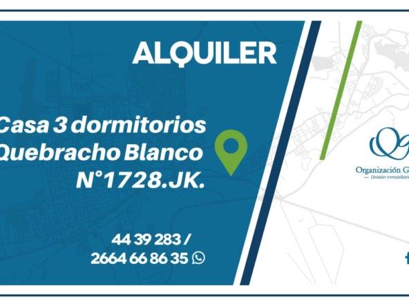 Casa 3 dormitorios. Quebracho Blanco N°1728.JK