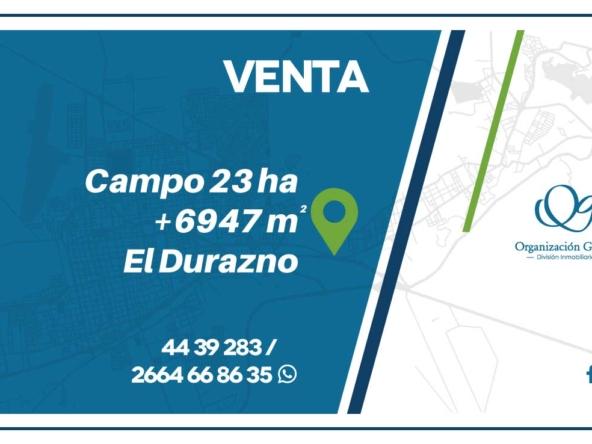 VENTA Campo 23 ha 6947 m² Durazno Alto